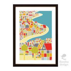 Domečky na pobřeží - autorská grafika Frame, Design, Home Decor, Flowers, Picture Frame, A Frame, Interior Design, Frames, Design Comics