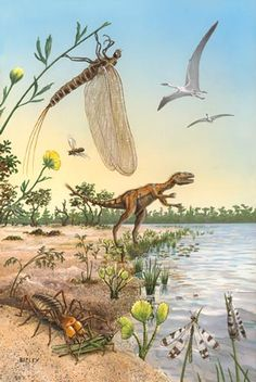 Insects and other fauna of the Cretaceous, one of the brilliant illustrations by Richard Bizley.