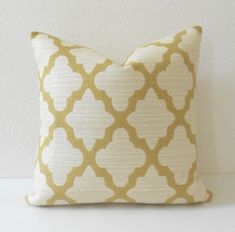 One decorative pillow cover made in your choice of sizes. Shown in a 18x18.  High end woven upholstery weight fabric in golden yellow and cream.