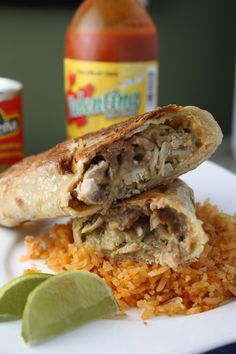 Oven baked chimichangas: we made these a while back with brown rice tortillas and Loved them! Nice crispy tortillas instead of break-your-teeth-tough :) also a recipe for spanish rice