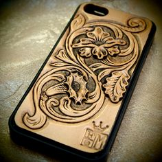 iPhone 5 cellphone case Western floral natural hand carved leather inlay Made for YOU in NYC USA by Freddie Matara!