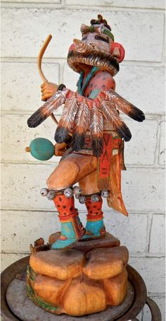 "Authentic Native American Handmade Materials: CottonWood Artist: Keith Torres, Hopi Tribe Product Description: ""Eagle Danger"" The Eagle Dancer Kachina Doll is one of the most popular Kachina Dolls. He"
