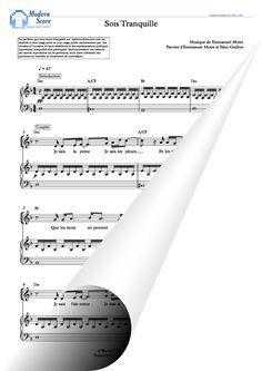 Magnifique partition piano de Sois Tranquille d'Emmanuel Moire.