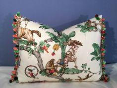 "Robert Allen ""Le Cirque"" Toile Scalamandre Trim Silk Pillow | eBay"