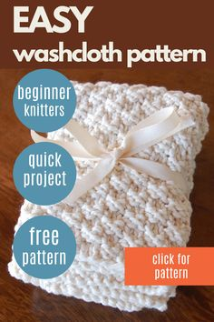 This easy hand knit washcloths pattern is a great pattern for beginner knitters, involving simple knit and purl stitches. Not only will you enjoy using these washcloths in your home, but they make great gifts. #nourishandnestle #pattern #knit #free #washcloths #dishcloths