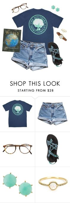 """""""wishing I could dress like this as a teacher"""" by southrnblle ❤ liked on Polyvore featuring Levi's, RetroSuperFuture, Chaco, Panacea, Irene Neuwirth and Kate Spade"""