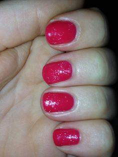 Pink glitter CND Shellac summer nails