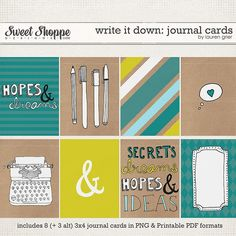Write it Down: Journal Cards by Lauren Grier at Sweet Shoppe Designs