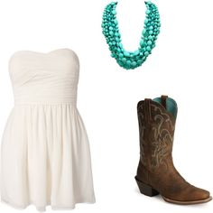 dress and cowboy boots, created by houstonlove1 on Polyvore