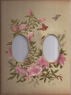 Lovely Floral Page from Victorian Album, Openings for Two CDV