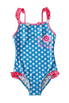 Blue White Polka Dot One Piece Girls Swimsuit