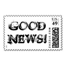 Let them know you put some #Good #News! in the envelope with Good News! #Postage :) Black and White Typography