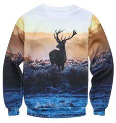 Fashion Pullover Round Collar 3D Deer Printed Sweatshirt For Men Men's Hoodies | RoseGal.com Mobile