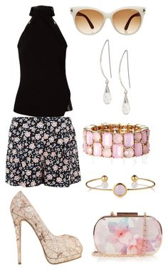 """""""Pink Flowers ~•~ Elegant black"""" by fashionnailart ❤ liked on Polyvore featuring Oasis, Giuliana Romanno, Giuseppe Zanotti, Tom Ford and Lane Bryant"""