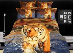 $118.19 docile tiger 4 piece cotton bedding sets with printing