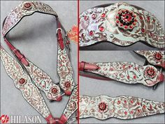 Hilason Western Floral Turquoise & Brown Embossed Italian Leather Horse Headstall Breast Collar Concho Bling Show Headstall Breastcollar Set: BHPA300CN033