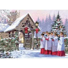 """Christmas Choir Group of Choir boys singing in front of a decorated Christmas tree at the arched gate way to a church.  Message: """"With Best Wishes for Christmas and the New Year""""  Pack of 10 cards, 120mm x 170mm."""