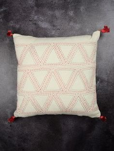 Ivory Zig Zag Noil Flash Silk Cushion Cover With Tassel 16in x 16in