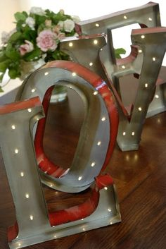 Marquee LED Light, Metal Love Sign, Industrial Letters, Battery Operated, 13.5 in- FREE SHIPPING