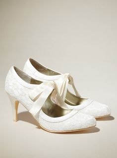 Amber Lace Shoe With Ribbon - shoes - the bride - Wedding - BHS
