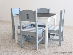 Furniture makeover: striped chalkboard table & chair set