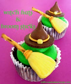 Dollhouse Bake Shoppe: Melted Witch Cupcakes With Candy Witch Hats & Broom Sticks