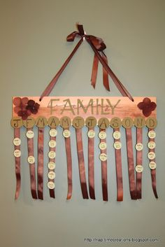 Family Birthday wall hanging. This is such a great idea! I always forget birthdays.