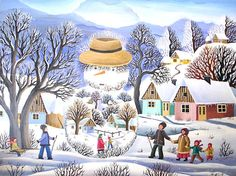 Mariana Mihut Winter Illustration, Naive Art, Folk Art, Artist, Painting, Illustrations, Mariana, Winter Scenery, Canvases