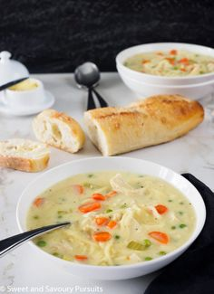 Delicious, comforting and filling, this homemade creamy chicken noodle and vegetable soup makes a nice change from the classic chicken noodle soup.