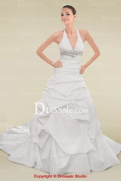 Stunning Halter Neckline Wedding Dress with Ruched Bodice