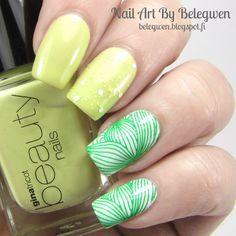 Nail Art By Belegwen: Gina Tricot Pear, Green Dot and White.