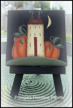 Mini Fall Autumn Saltbox House Pumpkin Hand Painted by Primgal