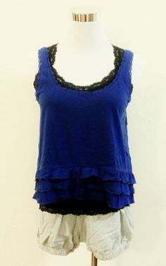 Have one to sell? Sell it yourself    NWT Hollister BY Abercrombie & Fitch Womens Malaga Beach Tank Ruffled Hem Blue M