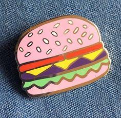 PRE-ORDER-Pink Burger Hard Enamel Lapel Pin- Cute Quirky Cheeseburger Pin Badge…