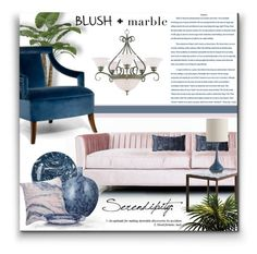 """Pink Blush + Blue Marble"" by signaturenails-dstanley ❤ liked on Polyvore featuring interior, interiors, interior design, home, home decor, interior decorating, ModShop, Maxim, Simple Life and Lazy Susan"