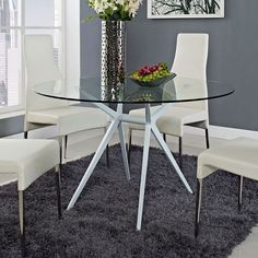 Travis Dining Table | White + Glass Modern Geometric Table | Modern Dining | Eurway