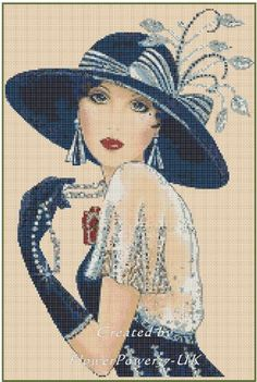 Cross Stitch Chart ART DECO LADY in Navy Blue with Large Hat - No. 5vb-35c #FlowerPower37UK #ArtDeco