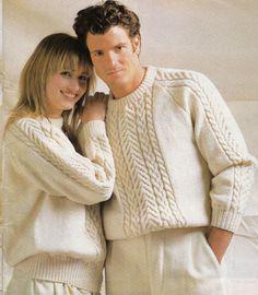 Vintage Knitting Pattern Instructions to Make Ladies & Mens Aran Jumper 7 Sizes