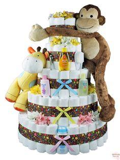 Sensational Safari Flowered Diaper Cake 5 Tier-great idea for baby shower