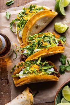 Homemade Cheesy Gordita Crunch Tacos   halfbakedharvest.com Mexican Food Recipes, Whole Food Recipes, Dinner Recipes, Ethnic Recipes, Dinner Ideas, Meal Ideas, Mexican Meals, Healthy Recipes, Quesadillas