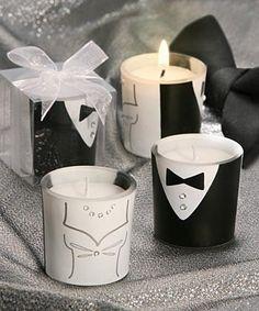 Tuxedo & Gown Design Votive Candle Favors