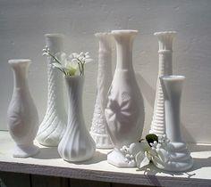 Milk Glass Bud Vases Wedding Table Decor Set by WeeLambieVintage, $24.00