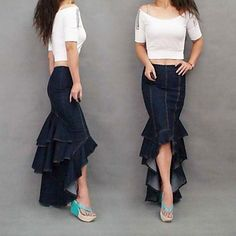 Women's Fashion Sexy Asymmetrical Mermaid Maxi Jeans Skirt 2015 – $54.99