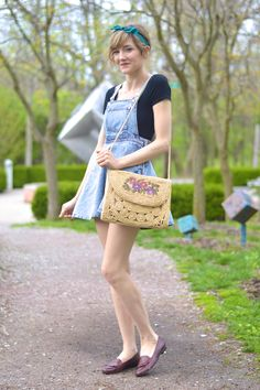 Denim overall dress and vintage loafers from alittlelau.com