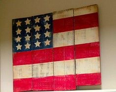 Do this for the old barn in NC - Large American Flag Pallet Sign - Rustic Home Decor - Flag Painting - Pallet sign - Reclaimed wood sign - Hand Painted Wood Sign