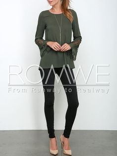 Army Green Long Sleeve With Lace Blouse Mobile Site