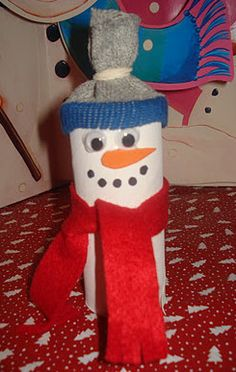 This Toilet Roll Snowman is one of my favorite recycled crafts for winter!