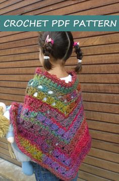 Crochet Poncho Pattern. PDF 019. por vivartshop en Etsy