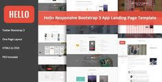 Buy HELLO - Responsive Bootstrap App Landing Page by Print_Gallery on ThemeForest. HELLO – Responsive Bootstrap 3 App Landing Page Template This is a modern responsive app landing template which is de. Psd Flyer Templates, Page Template, Website Template, Theme Forest, App Landing Page, Cool Technology, First Page, Clean Design, Page Layout