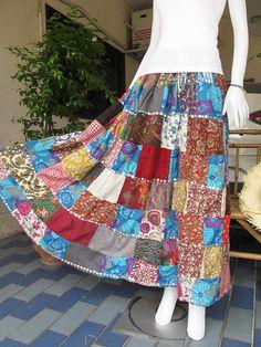 Beautiful  Boho Gypsy Hippie Patchwork Long skirt  by NuttyPenny, $19.99